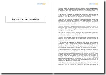 Le contrat de franchise - relations entre les parties et avec tiers (2010)