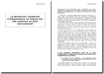 La déclaration unilatérale d'indépendance du Kosovo est-elle conforme au droit international ?