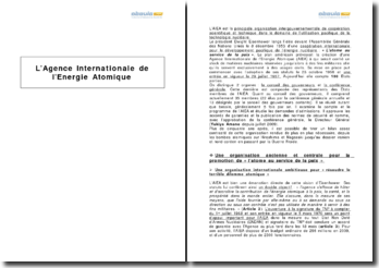 L'agence internationale de l'énergie atomique (AIEA)