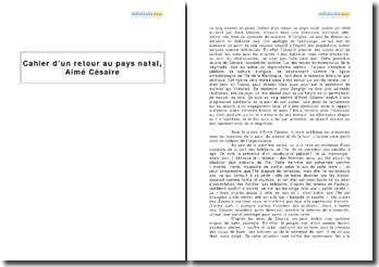 Cahier d'un retour au pays natal, Aimé Césaire - la révélation de la négritude