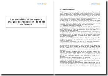 Les autorités et les agents chargés de l'exécution de la loi de finances