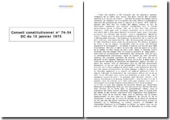 Conseil constitutionnel, 15 janvier 1975 - contrôle de constitutionnalité de la loi Veil