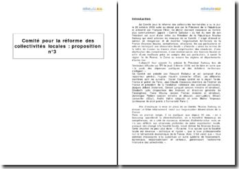 Comité pour la réforme des collectivités locales - la proposition nº3