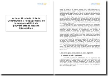 Article 49 alinéa 3 de la Constitution - l'engagement de la responsabilité du gouvernement devant l'Assemblée