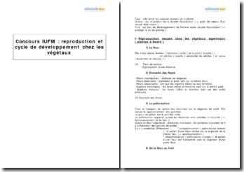 Reproduction et cycle de développement chez les végétaux - préparation au concours de l'IUFM