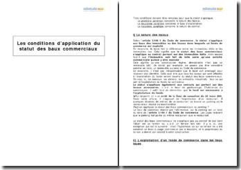 Les conditions d'application du statut des baux commerciaux