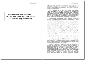Alinéa 2 de l'article 2276 du Code civil - la notion de possession