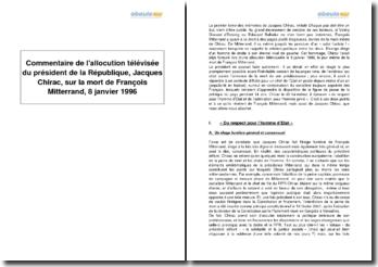 Allocution télévisée du président de la République, Jacques Chirac, sur la mort de François Mitterrand, 8 janvier 1996