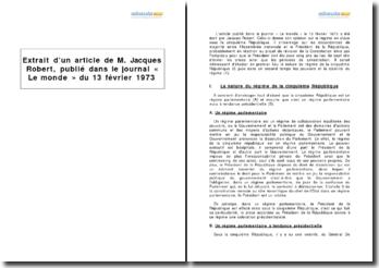 Article de M. Robert, Le Monde, 13 février 1973 - les discordances de majorité entre l'Assemblée nationale et le Président de la République