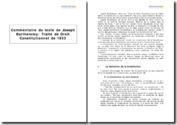 Traité de droit constitutionnel de 1933, Joseph Barthelemy