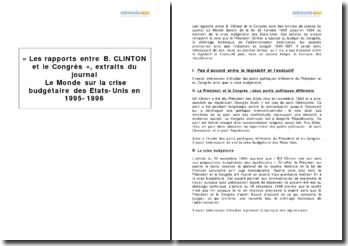 Les rapports entre B. Clinton et le Congrès, articles du journal Le Monde sur la crise budgétaire des États-Unis en 1995-1996
