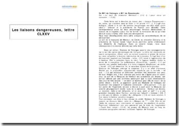Les liaisons dangereuses, Choderlos de Laclos - étude de la lettre CLXXV