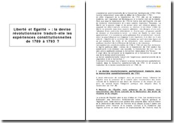 Liberté et Égalité - les expériences constitutionnelles de 1789 à 1793