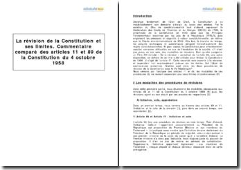 Les articles 11 et 89 de la Constitution du 4 octobre 1958 - la révision de la Constitution et ses limites
