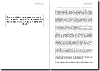Comparaison du projet du 19 avril 1946 et du préambule de la Constitution du 27 octobre 1946