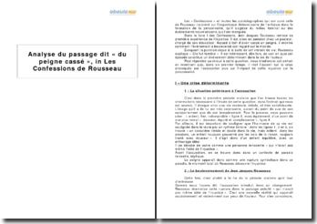 Les Confessions, Jean Jacques Rousseau - livre I, Le peigne cassé