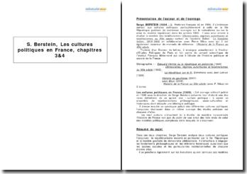 Les cultures politiques en France, Serge Berstein - étude des chapitres III et IV