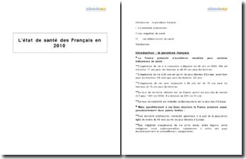 L'état de santé des Francais en 2010