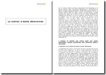Le contrat à durée déterminée (CDD) - analyse de la réforme du droit des contrats de février 2009