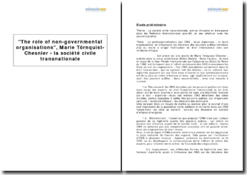 The role of non-governmental organisations, Marie Törnquist-Chesnier - la société civile transnationale