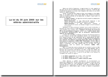 La loi du 30 juin 2000 sur les référés administratifs