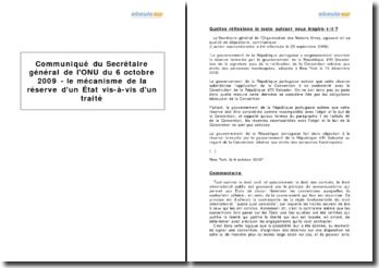 Communiqué du Secrétaire général de l'ONU du 6 octobre 2009 - le mécanisme de la réserve d'un État vis-à-vis d'un traité