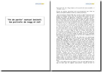 Fin de partie, Samuel Beckett (1957) - les portraits de Nagg et de Nell