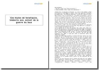 La guerre du faux, Umberto Eco - ces foules de fanatiques (1978)