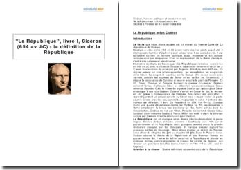 ''La République'', livre I, Cicéron (654 av J-C) - la définition de la République