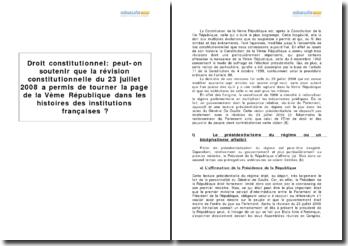 La révision constitutionnelle du 23 juillet 2008