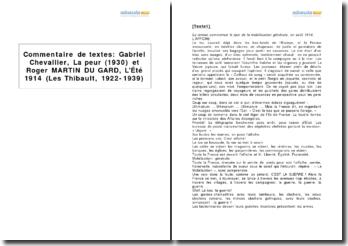 Étude comparative - Gabriel Chevallier, La peur (1930) et Roger Martin du Gard, L'Été 1914 (1920-1937)