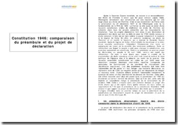 La Constitution de 1946 - comparaison du préambule et du projet de déclaration