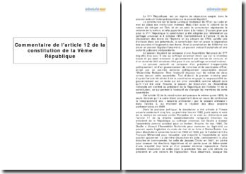 Constitution de la Ve République - étude de l'article 12