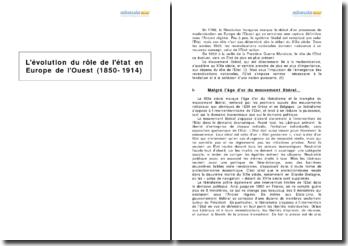 L'évolution du rôle de l'État en Europe de l'Ouest (1850-1914)