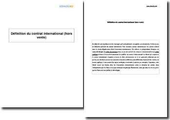 Définition du contrat international (hors vente)