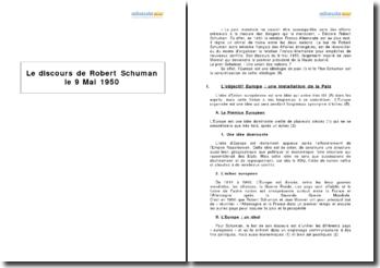 Robert Schuman, allocution du 9 mai 1950 - une union des nations pour la préservation de la paix