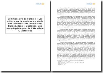 Musiques, une encyclopédie pour le XXIe siècle, Jean-Michel Bardez - les débats sur la musique au Siècle des Lumières