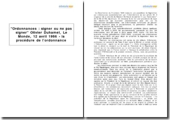Ordonnances : signer ou ne pas signer Olivier Duhamel, Le Monde, 12 avril 1986 - la procédure de l'ordonnance
