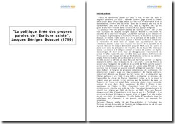 La politique tirée des propres paroles de l'Écriture sainte, Jacques Bénigne Bossuet (1709)