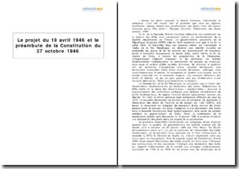 Le projet du 19 avril 1946 et le préambule de la Constitution du 27 octobre 1946