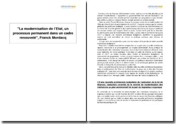 La modernisation de l'Etat, un processus permanent dans un cadre renouvelé, Franck Mordacq
