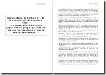 Constitution du 4 octobre 1958, article 3-1 - le détenteur de la souveraineté nationale sous la Ve République