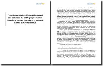 Les risques collectifs sous le regard des sciences du politique; nouveaux chantiers, vieilles questions, Yannick Barthe et Cyril Lemieux