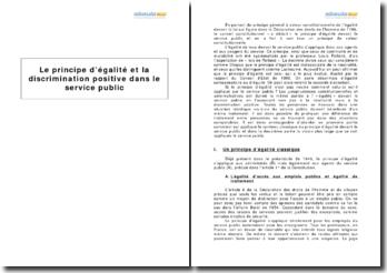 Le principe d'égalité et la discrimination positive dans le service public