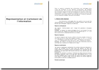 Représentation et traitement de l'information