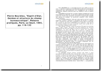 Pierre Bourdieu, Esprit d'Etat, Genèse et structure du champ bureaucratique, Raisons pratiques, Paris, Le Seuil, 1994, pp. 116-133