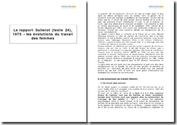 Le rapport Sullerot (texte 24), 1975 - les évolutions du travail des femmes