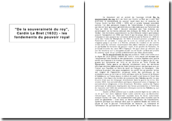 De la souveraineté du roy, Cardin Le Bret (1632) - les fondements du pouvoir royal