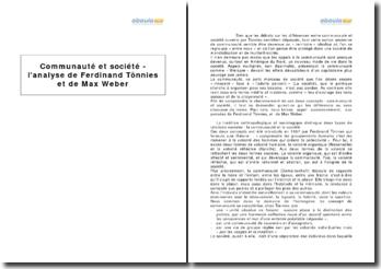 Communauté et société - l'analyse de Ferdinand Tönnies et de Max Weber