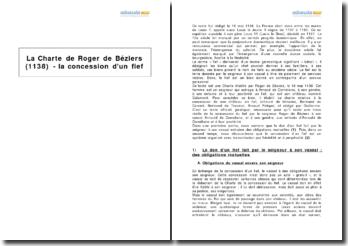 La Charte de Roger de Béziers (1138) - la concession d'un fief